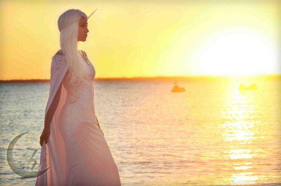 White off-shoulder cape dress size 4