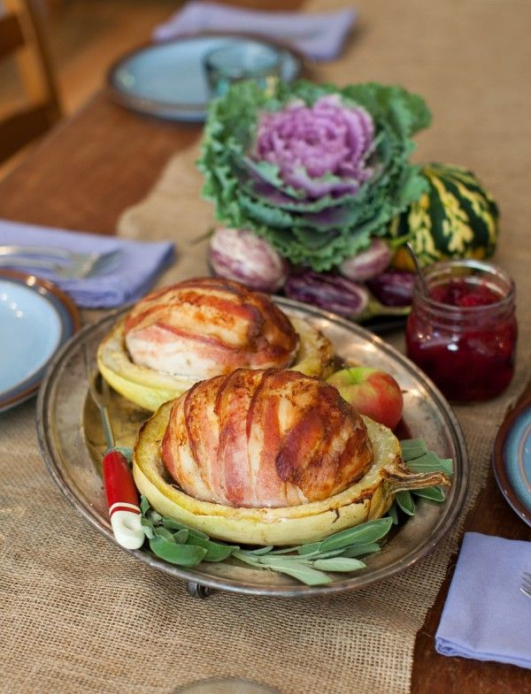 Squash-Roasted, Bacon-Wrapped Turkey Roulade with Cider Gravy. #thanksgiving #dinner