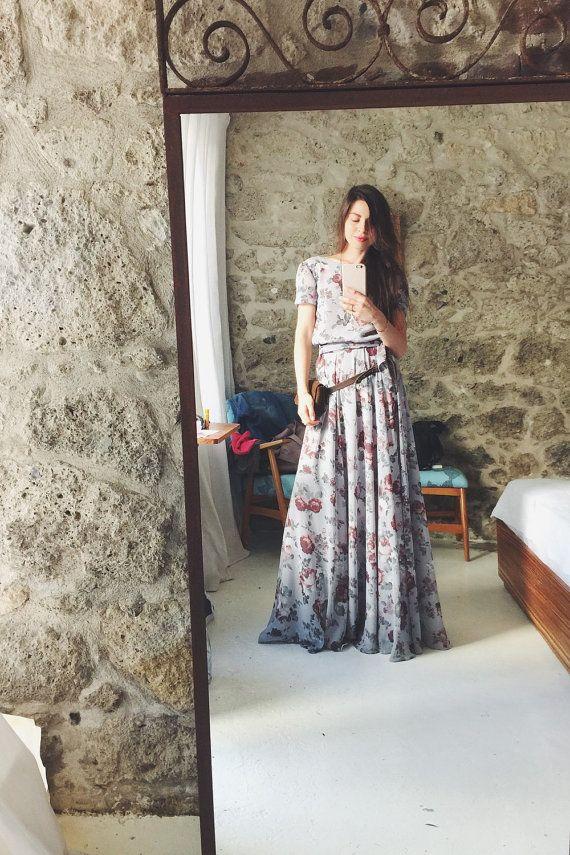 Imprimé floral maxi robe en mousseline de soie avec pelle