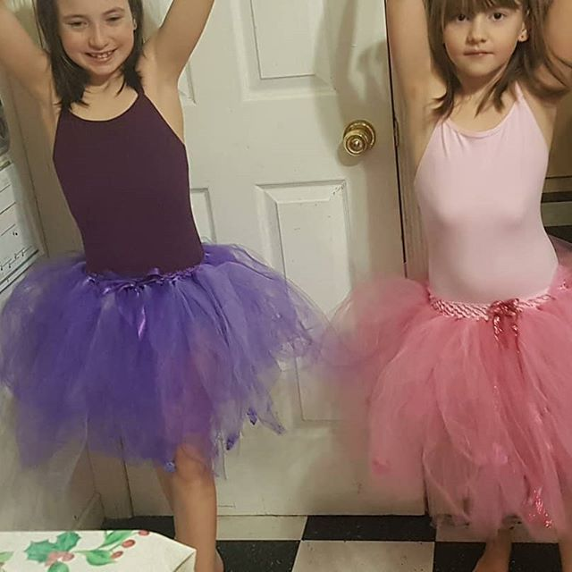 Two lovely neighbours wearing tutus I custom made for them for christmas