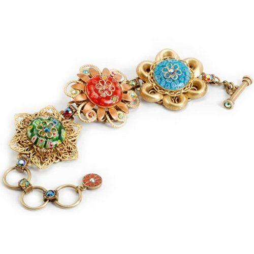 Sweet Romance Adjustable Millefiori Flower Trio Link Bracelet Ollipop. $59.00