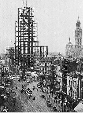1930 | Antwerp | 'Boerentoren' under construction... (art-deco) | It was one of the first skyscrapers on the European mainland and even the talllest building (87,5m) in Europe 'till the fifties.