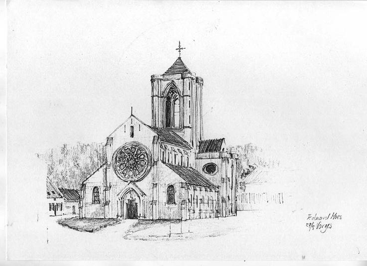 """nice pencil sketch """"Church in Vorges France"""". Eduard Moes"""
