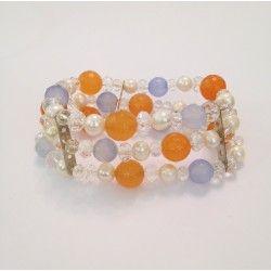 Bracciale tre fili arancione e blu pastello in pietra agata, perle di fiume e cristalli con elastico