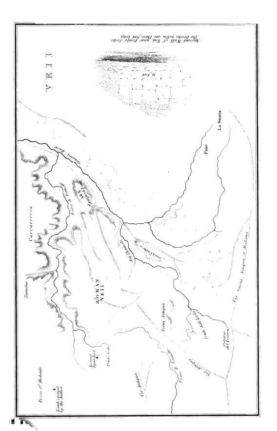 """Map of ancient Veii from """"Tour to the sepulchres of Etruria in 1839"""" - by Mrs Hamilton Gray - London, 1843"""