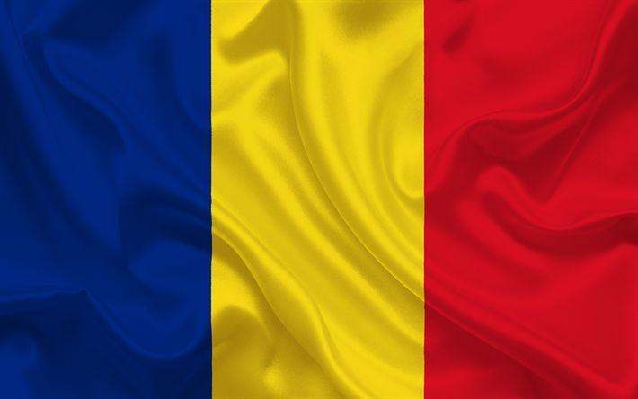 Download wallpapers Flag of Romania, Romanian flag, Europe, silk, Romania