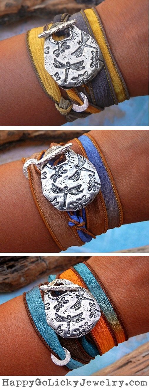 Unique Gifts for Women, Sterling Silver Silk Wrap Bracelet by HappyGoLicky   CLICK & use coupon code PIN10 to save 10% now! HappyGoLickyJewelry.com #cyber #monday #sale