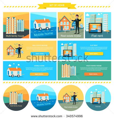 Mobile home, flat rent, multi-family house.  Real estate broker, caravan and manufactured home, trailer home, rent house, apartment and moving house illustration. Set of banners