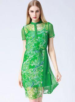 Silk Floral Print A-Line Dress