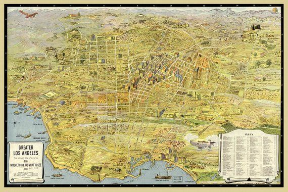 24x36 Los Angeles California 1877 Historic Panoramic Town Map