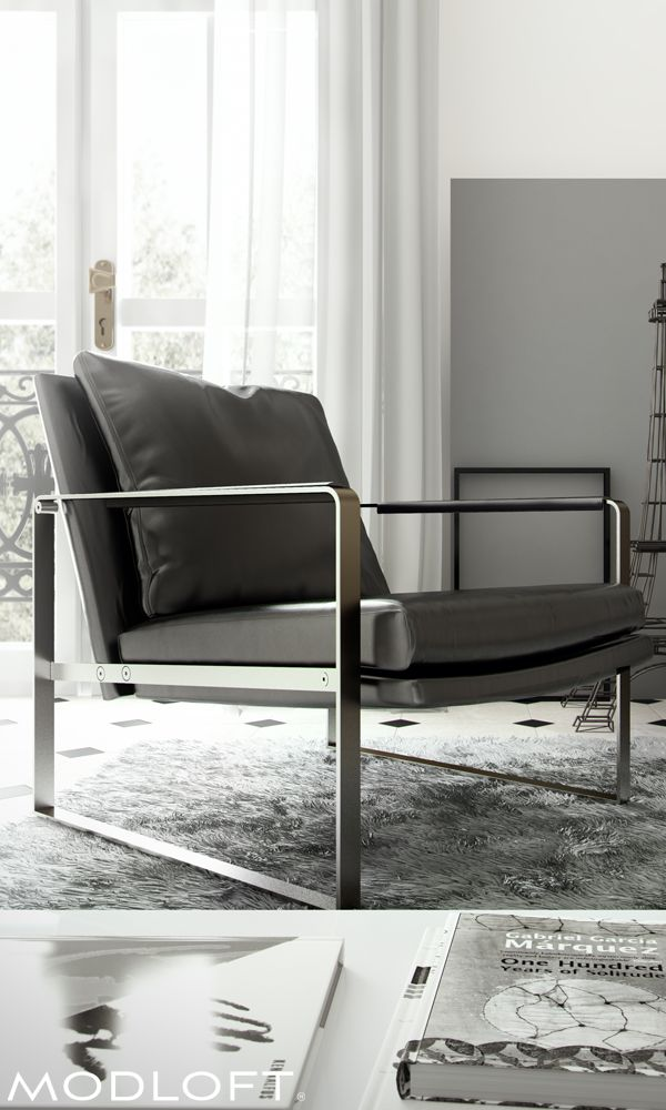 The rich materials and modern lines of the Modloft Charles lounge chair bring this time classic piece to life. Not just great style! Bicast leather body and arms with down feather inserted pillow adds comfort, too! Available in our quick-ship program for immediate delivery.