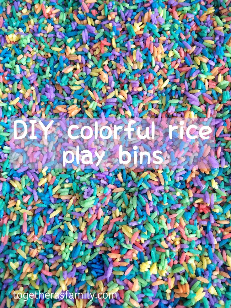 DIY colorful rice play bins. A great activity to keep kids entertained.