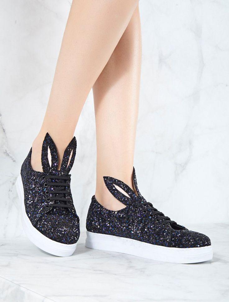 SPOR AYAKKABI Bunny Siyah Simli Spor Ayakkabı