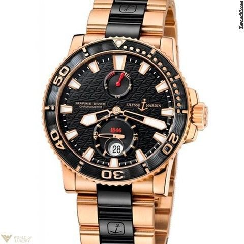Uylsse Nardin Maxi Marine Diver 18k Rose Gold Men's Watch
