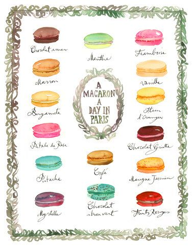 A macaron a day in Paris - French macaron flavor chart poster, Laduree inspired, Kitchen decor, 8X10 Food art print, Watercolor painting