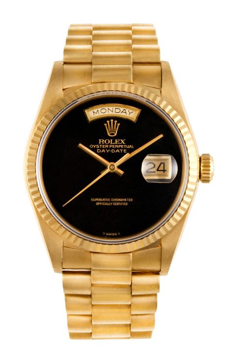 Shop Rolex 18K Yellow Gold Day-Date President with Black Onyx Dial by CMT Fine Watch and Jewelry Advisors Now Available on Moda Operandi