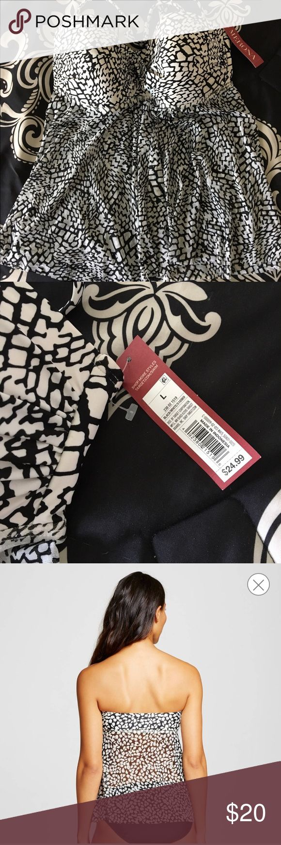 Merona women's L Flyaway Tankini NWT Brand new with tags, Merona Women's black and white flyaway tankini top from Target. TOP ONLY. Detachable straps, moulded cups. Size Large. Merona Swim