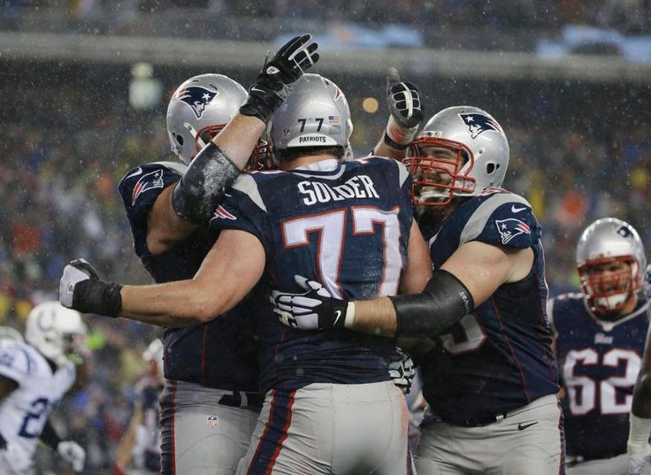 OL celebrating Nate's TD! Colts vs. Patriots: AFC Championship