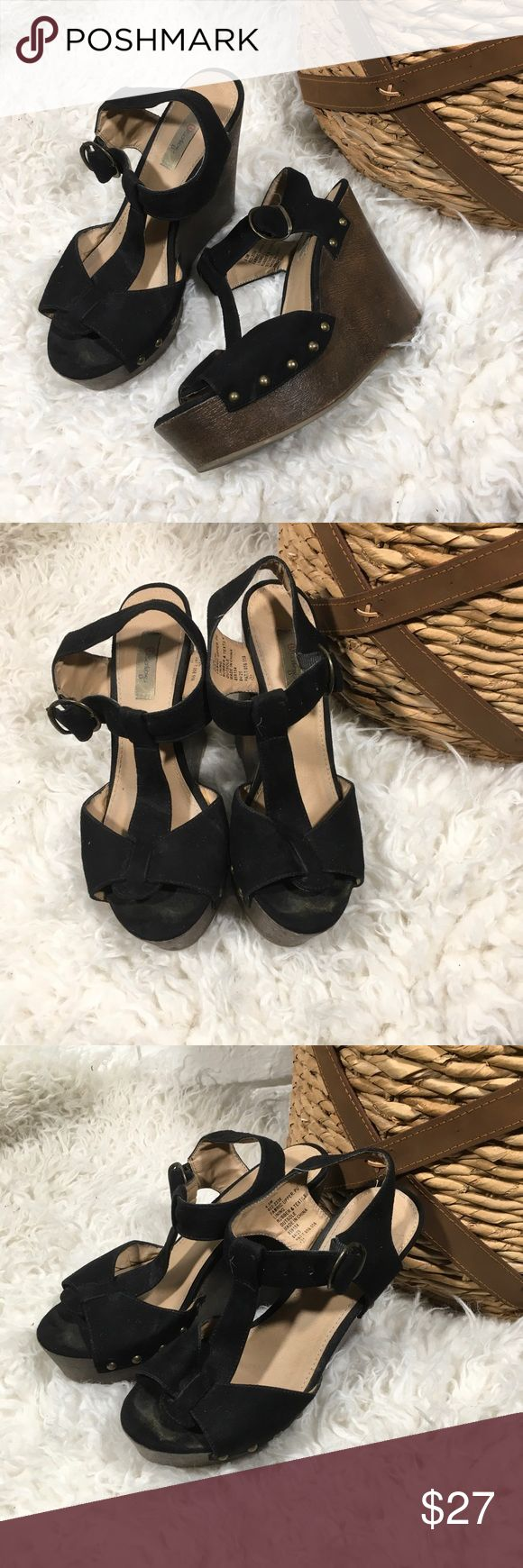 Olsenboye Black T-Strap Platform Wedges These are so cute but do have signs of wear, see pictures. Olsenboye Shoes Wedges