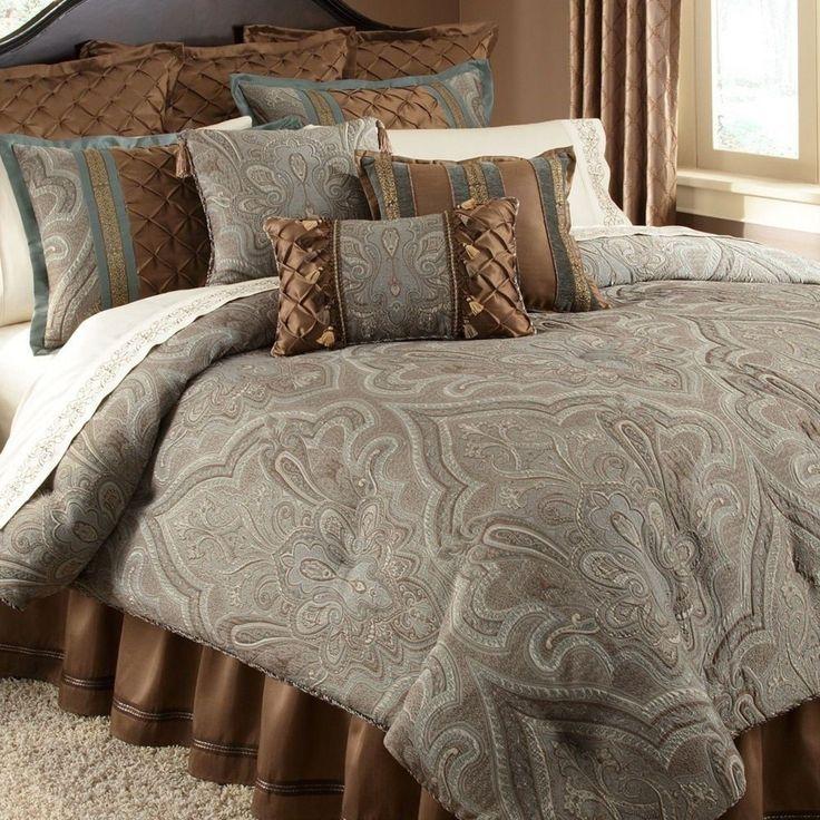 Blue Brown Paisley Oversized King Comforter Set Bedskirt Tassel Castle Chocolate - Comforters & Sets