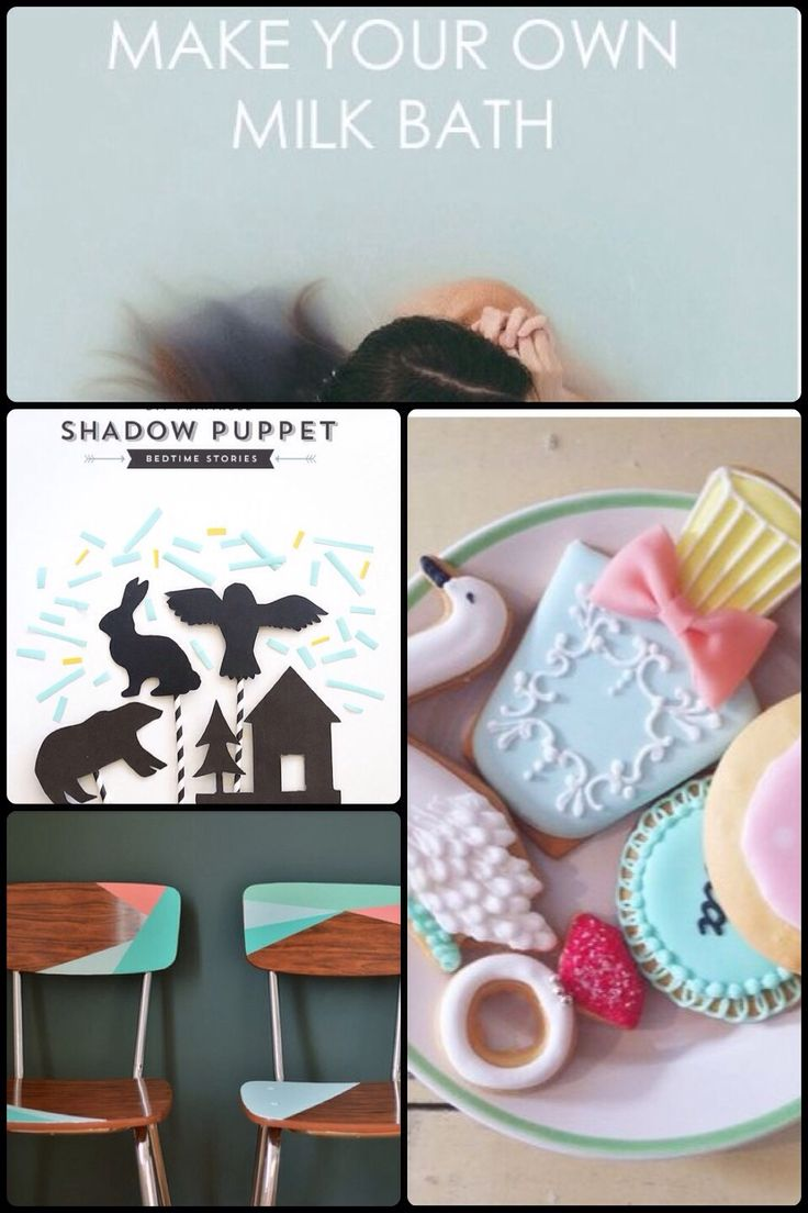 Fab Friday - a Pretty cookies, shadow puppets, Milk bath, painted chairs