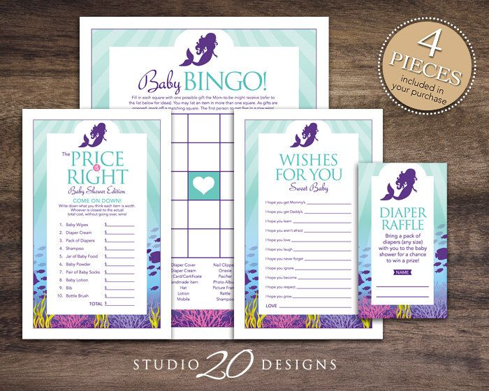 Instant Download Little Mermaid Baby Shower Games Pack, Purple Mermaid Bingo Game, Price Is Right, Wishes for Baby, Diaper Raffle 70A by Studio20Designs on Etsy https://www.etsy.com/listing/224030677/instant-download-little-mermaid-baby