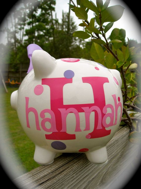 Personalized Piggy Bank by dancenat on Etsy, $15.00