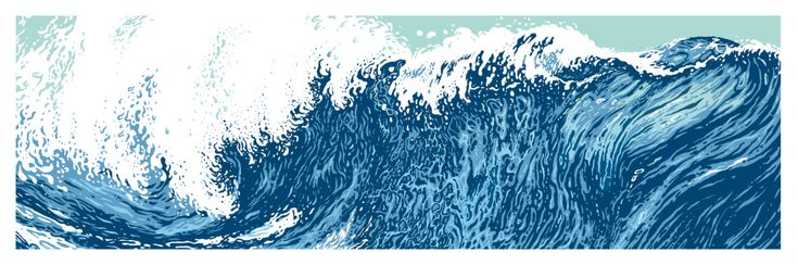 "Long Wave - Horizontal Print - Silkscreen - 8"" x 24"" by QuarrelsomeYeti on Etsy"