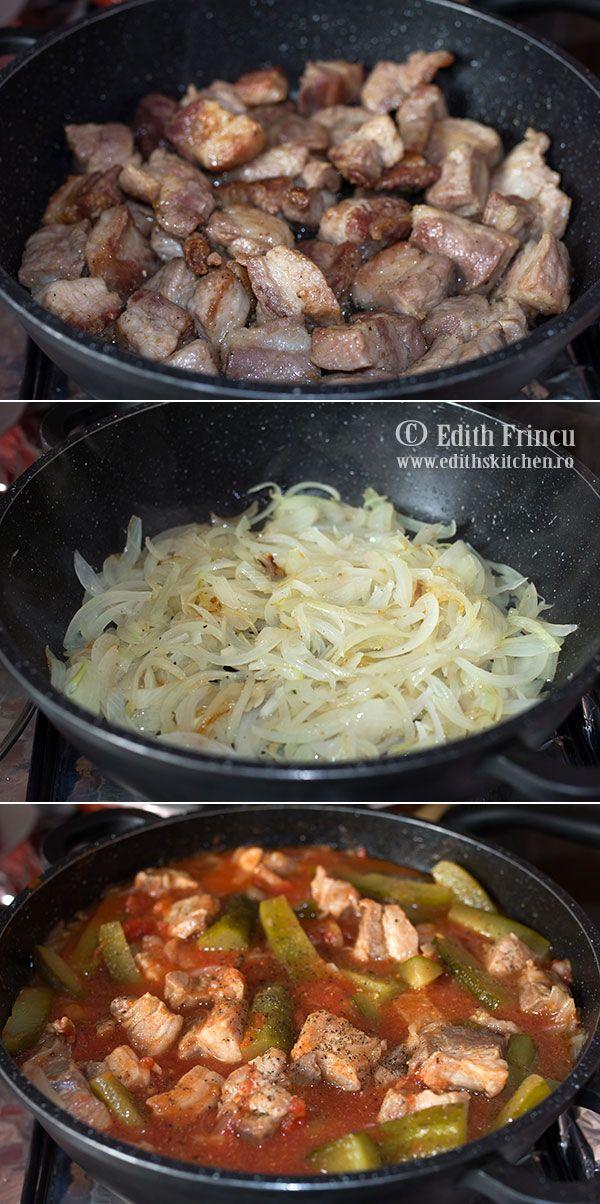 Mancare de castraveti murati, o tocanita cu ceapa multa, carne de porc, rosii si castraveti in saramura.