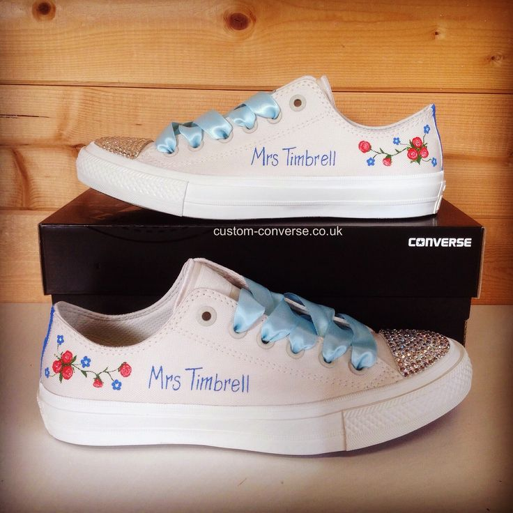Fl Ivory Wedding Converse With Swarovski Toes And Ribbon Laces Weddingconverse