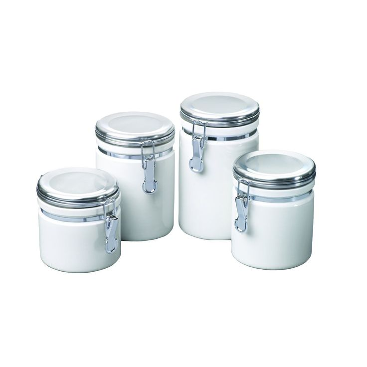 Anchor Hocking White Ceramic Canister Set Of 4