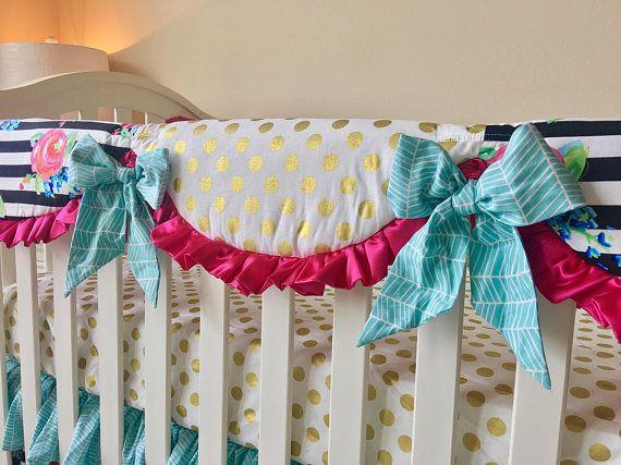 Watercolor Floral Stripe Crib Rail Covers, Gold Dot Crib Rail Cover, Hot Pink Rail Guard, Aqua Rail Guard, Bumperless Crib Bedding