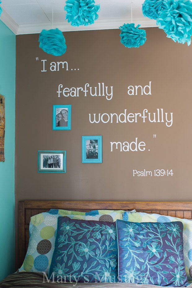 Love this Teen Room Makeover + Learn How to Make Your Own Inspirational Scripture Wall Decal by @Marty's Musings DIY/Home Blog via @Sand and Sisal