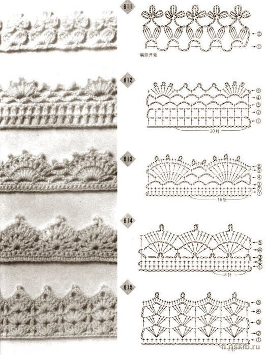 Crochet border patterns. http://www.liveinternet.ru/users/3798319/post135236243/