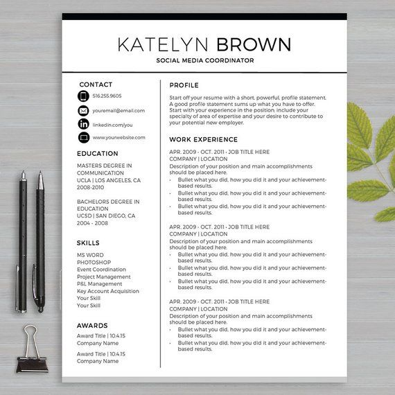 Resume Template For MS Word and PAGES 1 and 2 page resume, cover