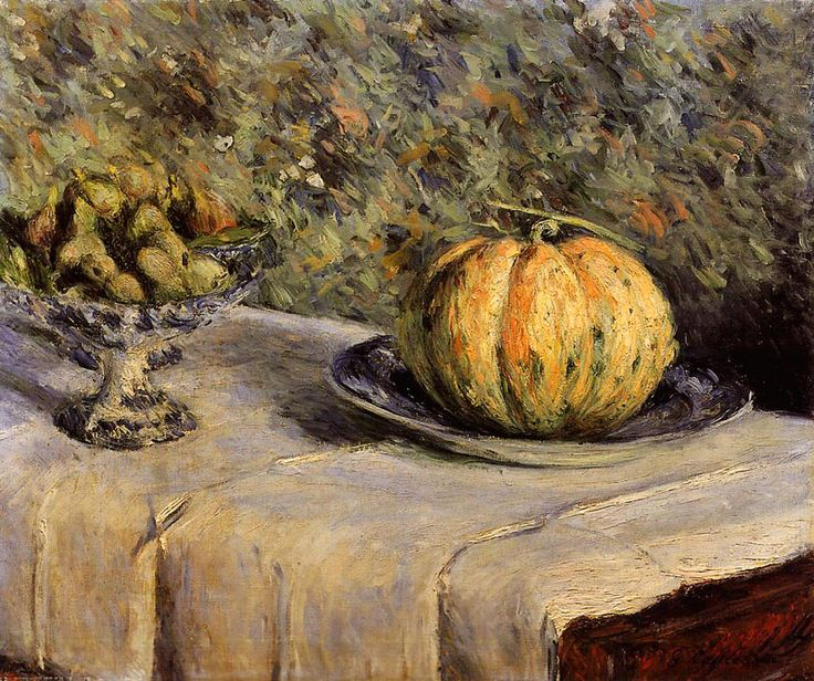Melon and fig compote, Gustave Caillebotte. French Impressionist Painter (1848 - 1894)