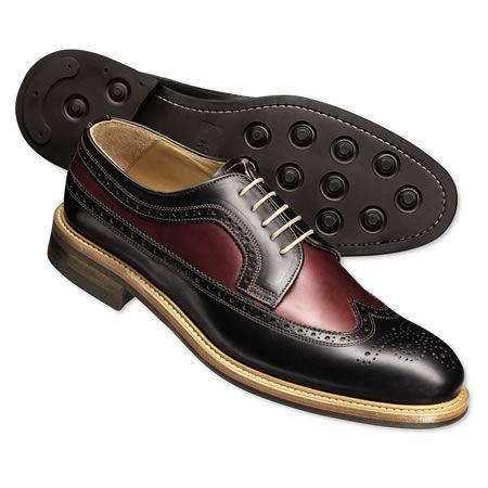 Black two-tone Draycott brogue shoes | Men's casual shoes from Charles Tyrwhitt, Jermyn Street, London