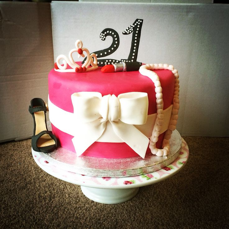 #21st #birthday cake! #glutenfree #eggfree #girly #pink #bow #heels #jewellery #nomolds #handmade #edible