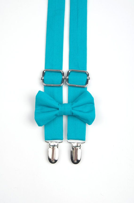 Turquoise suspenders & bow tie Teal Bow Tie and by DapperGent
