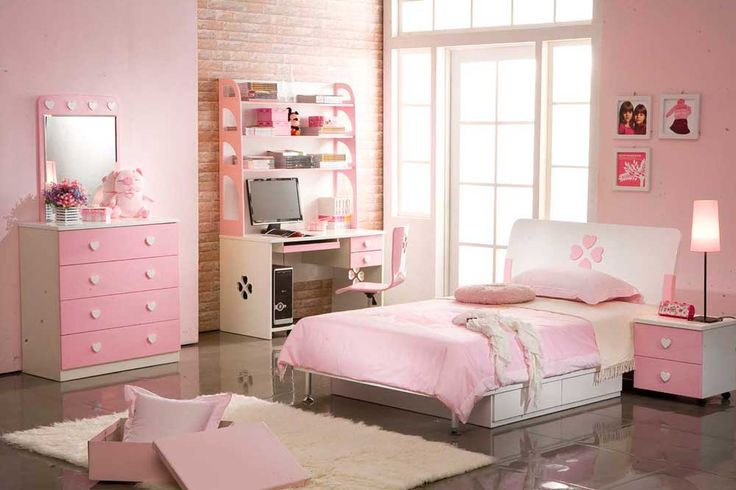 Simple Interior Design for The Bedroom For Girls with pink wall color and pink cupboard