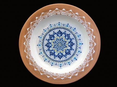 Touch of Sicily   Embroidery plate  Terracotta dish with embroidery on the flap and a hand-decorated circular pattern