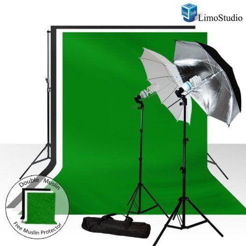 Limostudio 700W Photography Light Photo Video Studio Umbrella Lighting Kit, 10 x 10 ft. Studio Green chromakey photo backdrops Backgrounds Support kit, AGG687 LimoStudio http://www.amazon.com/dp/B005D9MZDI/ref=cm_sw_r_pi_dp_hjW0ub1MRD8BH