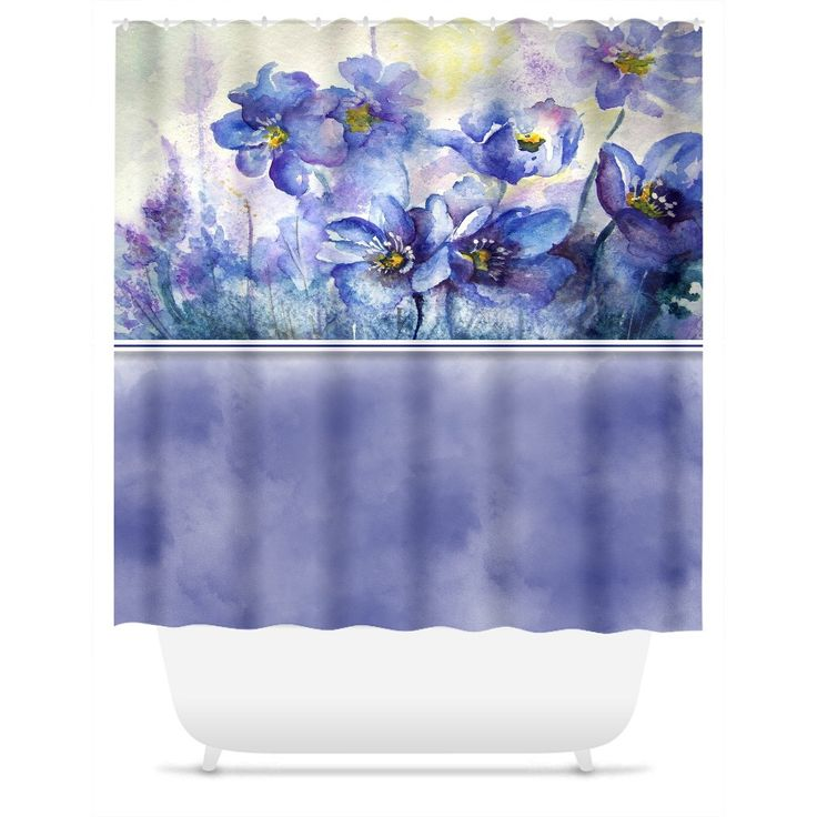 Shower Curtain. Purple Watercolor Floral Shower Curtain
