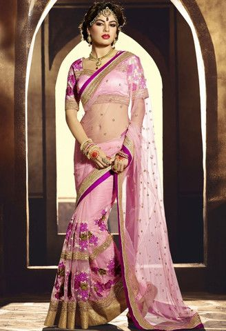 Pink Net Designer Saree With Embroidery Work..@ fashionsbyindia.com #designs #indian #fashion #womens #style #cloths #fashion #stylish #casual #fashionsbyindia #punjabi #suits #saree #wedding