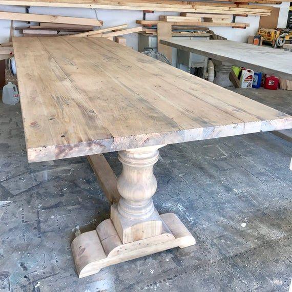 Solid Wood Handmade Pedestal Trestle Table Free Shipping Etsy Dining Table Trestle Dining Tables Trestle Table