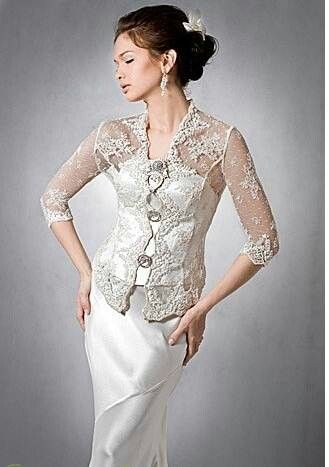 Chic Kebaya: Off white lace with pearl satin