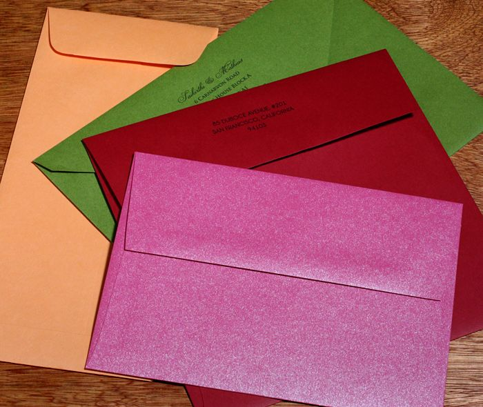 elegant custom printed colored envelopes in special sizes for your wedding invitations.  | Invitations by Ajalon | invitationsbyajalon.com