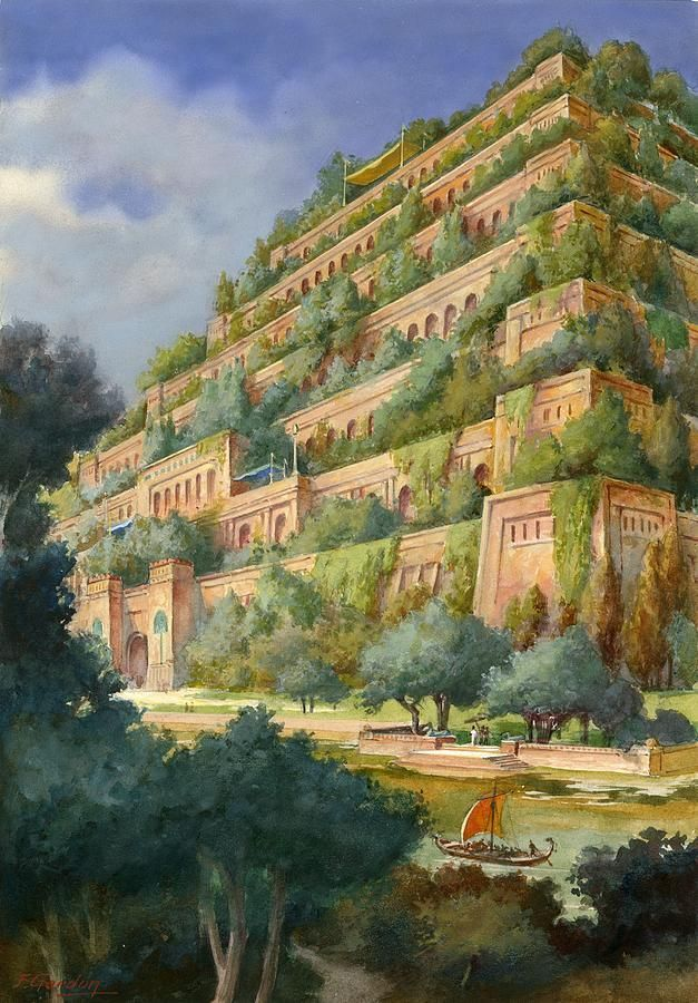 Hanging Gardens Of Babylon By English School A Garden Is Far More Than An Outdoor Area With Flower Beds L In 2020 Gardens Of Babylon Hanging Garden Ancient Babylon