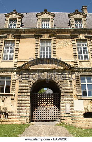 Entrance to the Castle of Sedan from the 16th century in Sedan. France - Stock Image
