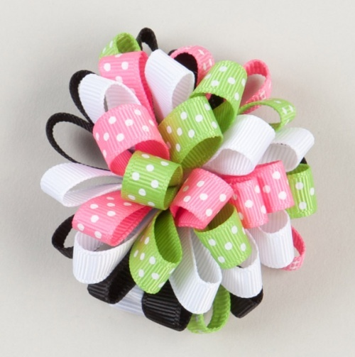 Green And Pink Poof Ribbon Hair Bow.  8a510d5af0